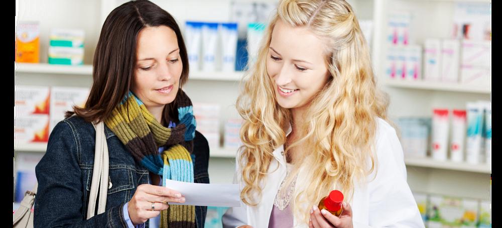 Pharmacist assisting the customer